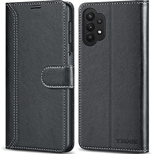 ykooe Handyhülle für Samsung Galaxy A32 5G Hülle, Hochwertige PU Leder Handy Schutz Hülle für Samsung Galaxy A32 5G Flip Tasche, Schwarz