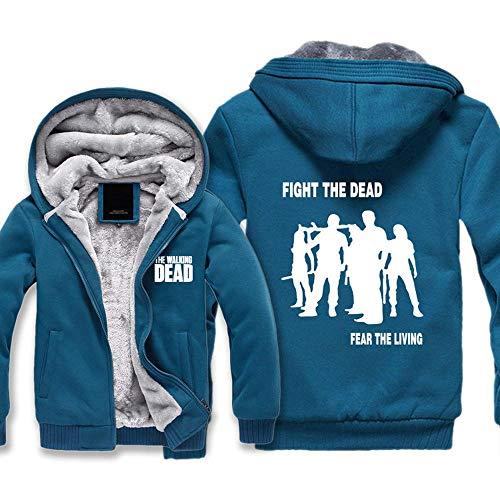 BINGFENG Männer Kapuzenpullover Winter-Fleecejacken The Walking Dead T-Shirt Outwear Dicke Warme Mäntel Mit Reißverschluss-Taschen B-S