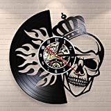 BFMBCHDJ Crâne avec Couronne en feu Wall Art Horloge Murale Halloween crâne Royal Couronne Vinyle Record Horloge Murale Roi Squelette Horloge décorative