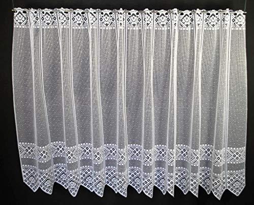 Tenda della finestra fiore modello altezza 90 cm | Può scegliere la larghezza in segmenti da 21 cm, come vuole | Colore: Bianco | Tendine cucina
