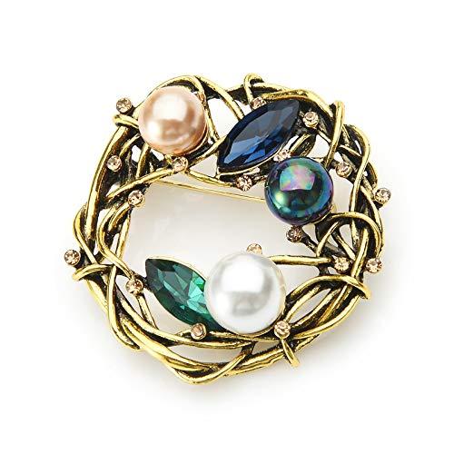 GZRUIGE Broches de Nido de Diamantes de imitación para Mujer, Broche de Oficina Informal de Fiesta de Nido de Huevo de Metal Vintage para Mujer, Regalos