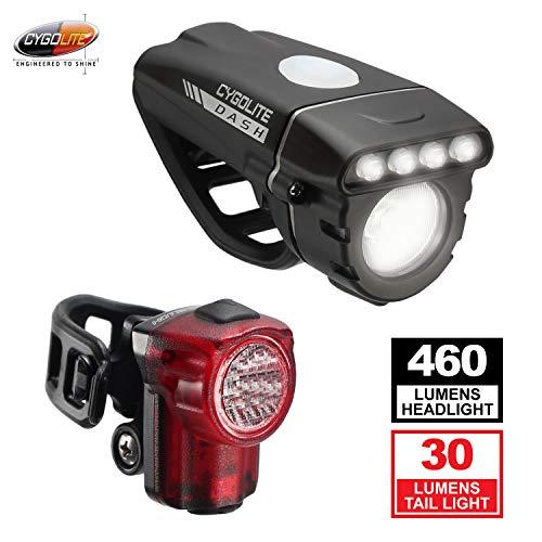 Cygolite Dash 460 Lumen Headlight & Hotshot Micro 30 Lumen Tail Light USB Rechargeable Bicycle Light Combo Set
