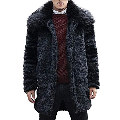 KPPONG Manteau Fausse Fourrure Homme Hiver Noir Chaud Doux Col Décontracté Mode Veste Cardigan Trench Coat Outwear
