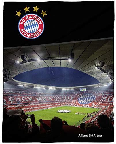 FC Bayern München Große Decke Allianz Arena 150 x 200cm Fußball FCB Deutscher Rekord-Meister Mia san Mia Champions League Bundesliga weiche Kuscheldecke Wohndecke Fleecedecke Pass. zur Bettwäsche