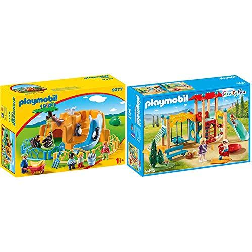 Playmobil- 1.2.3 Zoo Juguete, Multicolor (geobra Brandstätter 9377) + Family Fun Parque Infantil, a Partir de 4 Años (9423)