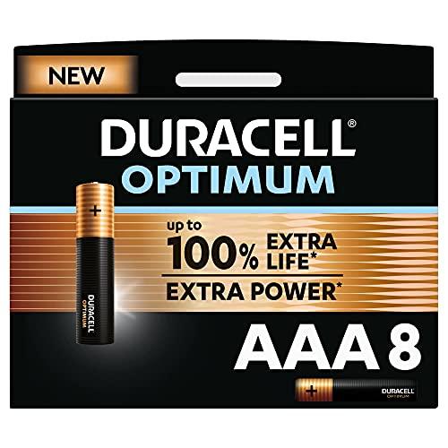 Duracell NEU Optimum AAA Micro Alkaline Batterien, 1.5V LR03 MX2400, 8er-Pack