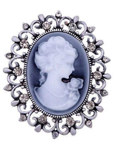 ALILANG Vintage inspirierte viktorianischen Cameo Lady Maiden Kristall Strass-Brosche Matte Silberton