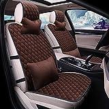 Coprisedile per auto invernale 9 pezzi Set Cuscino sedile completo universale caldo e confortevole compatibile con airbag adatto per SUV di grado nero,Marrón