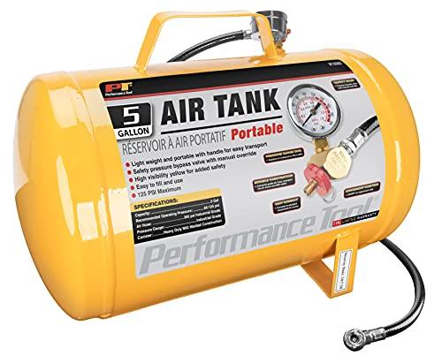 Performance Tool W10005 Hi-viz 5-Gallon Horizontal Portable Air Tank With Tire Air Chuck