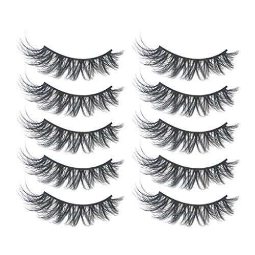 Snakell 5 paires de Faux Cils, Natural 3D Cils Faux - Eyelashes Mode Extension Pour Maquillage