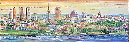 Cuadro Skyline de Madrid pintado a mano, obra original. 150x50cm