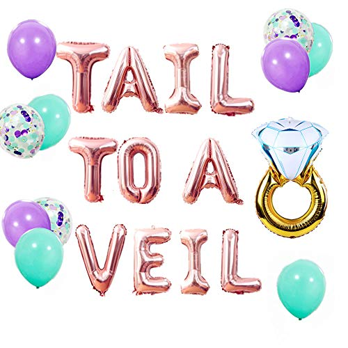 Bridal Shower Decoration Mermaid Bachelorette Party Mermaid Bride Trading My Tail for a Veil Banner