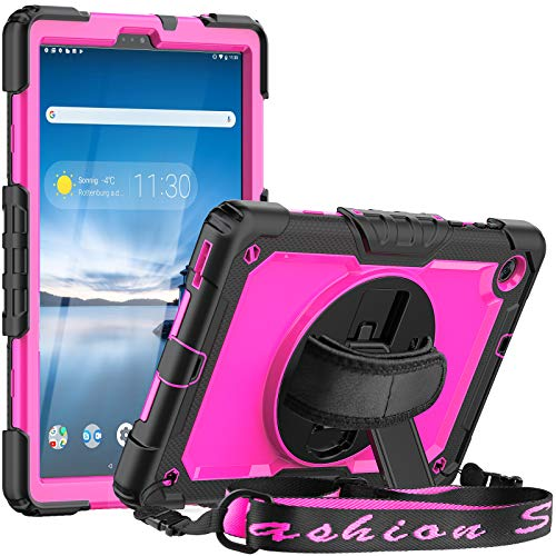 SEYMCY Case for Lenovo Tab M10 FHD Plus 10.3 Inch (2020 2nd Gen), Shockproof Rotatable Handle Stand Cover with Screen Protector Kids Friendly Case for Lenovo Tab M10 Plus TB-X606F TB-X606X,Black/Pink