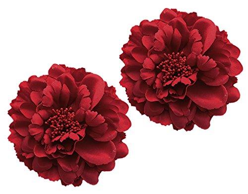 Haarschmuck Mädchen Blumen Haarspangen Damen, BONAMART - 2 Stück Hochzeit Rot Ansteckblume Frauen Baby Kinder Set Schleife Pfingstrose Künstliche Haarclips Haarklammer Tanzen