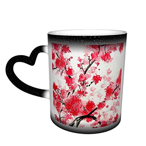 Taza de café de cerámica que cambia el calor, taza de té mágica sensible a flores de cerezo para café, té, leche o cacao para hombres y mujeres regalo novedad