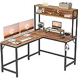 CubiCubi L-Shaped Desk with Hutch,59' Corner Computer Desk,Home Office Gaming Table Workstation with Storage Bookshelf,Dark Rustic