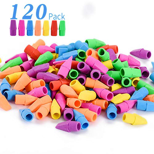Sooez Pencil Erasers, Pencil Top Erasers Cap Erasers Eraser Tops Pencil Eraser Toppers School Erasers for Kids School Supplies for Teachers Eraser Pencil Erasers, 7 Colors(120 Pack)