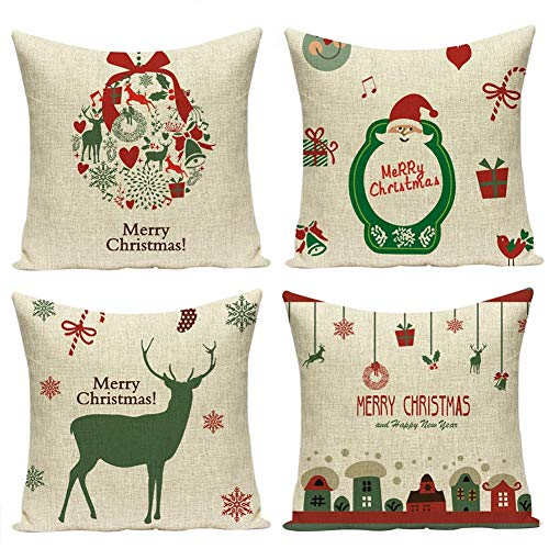 Freeas Set of 4 Christmas Pillow Cover Cotton Linen Decorative Pillowcases Christmas Snowflake Sofa Cushion Cover for Home Christmas Favor, 18 by 18 Inches