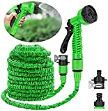 Alittle Garden Hose 100FT with 7 in 1 Spray Gun Quick Connector Expandable