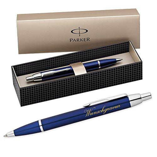 polar-effekt Parker IM Kugelschreiber mit Gravur - Farbe blau - Großraummine blauschreibend mit Geschenk-Etui - Druckkugelschreiber Geschenkidee zum Geburtstag