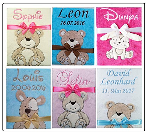 Babydecke mit Namen und Datum bestickt Baby Geschenke Geburt Taufe