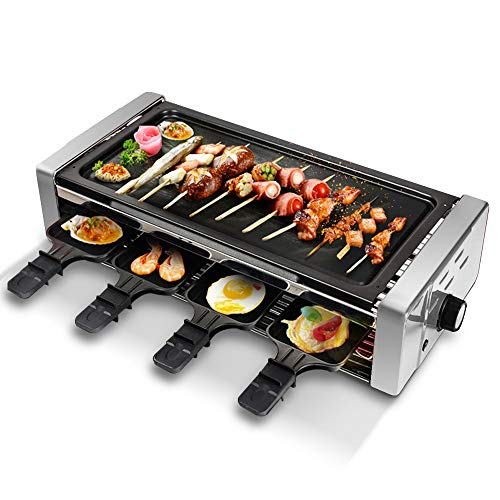 Electric Raclette Grill,Electric BBQ Grill Outdoor and Indoor,Smokeless Grill with Removable Nonstick Plate, Extra-Large Drip Tray, Cheese Raclette...