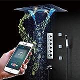 LWGHE Sistema música LED Ducha, Set de Ducha termostática, Inteligente Conjunto de Ducha de Lluvia música con el teléfono móvil de Control multifunción, 800X600mm