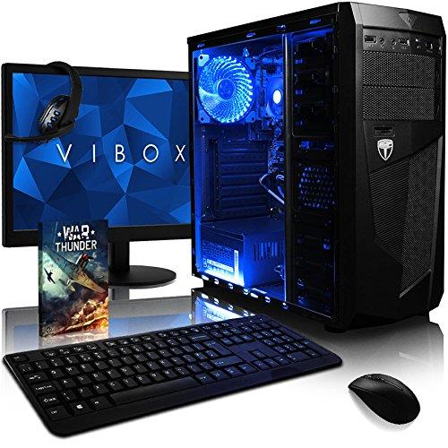 VIBOX Ultra 11L Gaming PC Computer mit War Thunder Spiel Bundle, 22 Zoll HD Monitor (3,4GHz AMD A8 Quad-Core Prozessor, Radeon R7 Grafik Chip, 8Go DDR4 2133MHz RAM, 1TB HDD, Ohne Betriebssystem)