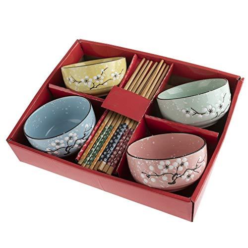 lachineuse 2424 Caja de cuencos de arroz, Porcelana, Azul - Verde - Rosa