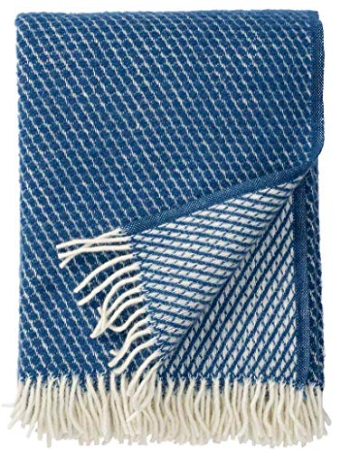 Klippan: Creme-petrolblaue Wolldecke 'Velvet' 130x200cm aus Lambswool, Wollplaid Schurwolle, Sofadecke, Kuscheldecke