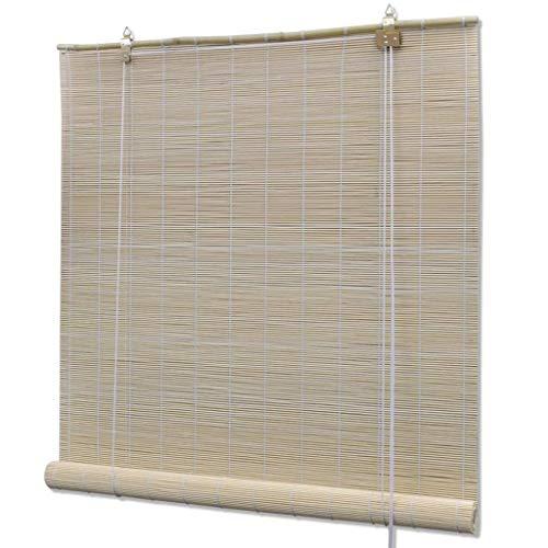 vidaXL Persiana Enrollable Bambú Natural 80x220cm Cortina Estor Ventana Casa
