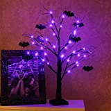EAMBRITE 2FT Black Glitter Spooky Tree Lights with 24 LED Purple Lights and Black Bat...