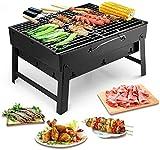 ccfgh Portátiles Parrilla de la Barbacoa del carbón de leña de Acero Inoxidable Fumador Char Broil BBQ Pit Grill for Picnic Jardín Terraza Recorrido Que acampa