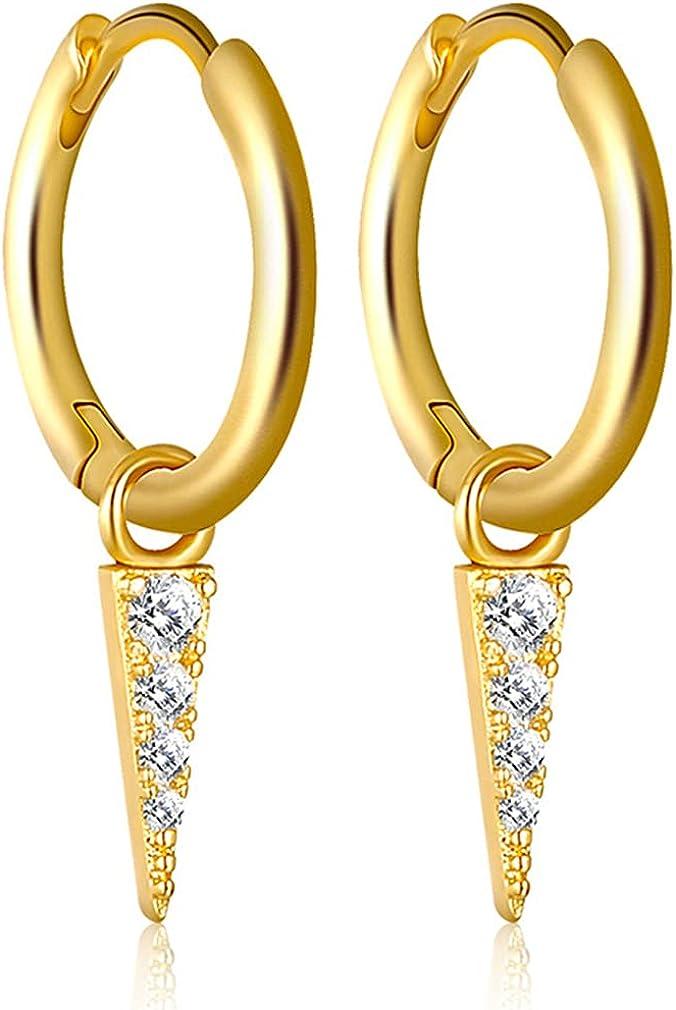 YAZILIND Personality Geometry Triangle Pendant Rhinestone Hoop Earrings Women Girls Party Jewelry