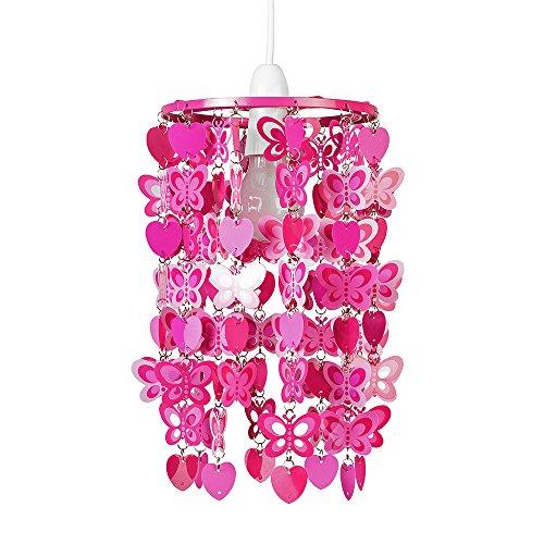 MiniSun – Rosafarbener Lampenschirm mit Herzen- und Schmetterlingsmotiv für Hänge- und Pendelleuchte – Lampenschirm fürs Mädchenzimmer