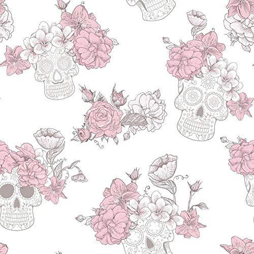 Tête de mort roses Fleur Floral Papier peint texturé Paillettes Gris brillant Rose Debona