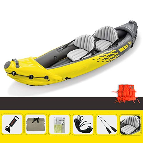 Kayak,312×91×51CM,Inflatable Boat Drift Boat Assault Boat Fishing Boat Rubber Canoe,2-Person Thickened Inflatable Kayak Set with Aluminum Oars And High Output Air Pump
