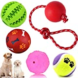 5 bolas de juguete para perros, inteligencia, juguete para cachorros, pelota de alimentación para perros, pelota de cuidado dental con sonido, pelota de goma natural, pelota de tenis para perros