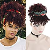 YITI Afro Puff Bun With Bangs Ponytail Drawstring Short Afro Kinky Curly Ponytail Clip in Synthetic Curly Hairpieces Made of Kanekalon Fiber Ponytail Wrap Updo Hair Extensions with Clips (A-Wine Red)