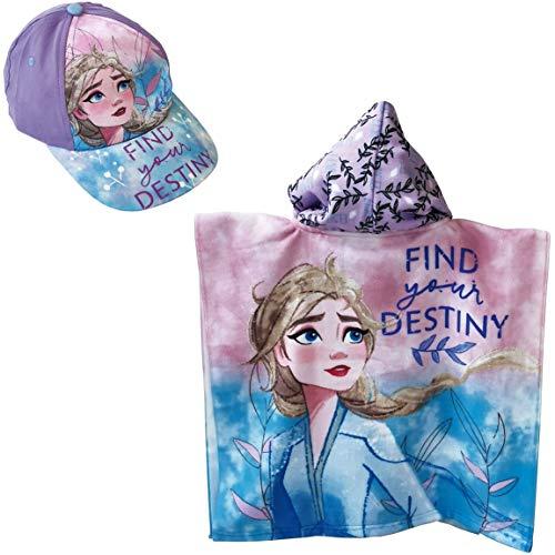 ARTESANIA Y DISEÑO TEXTIL, S.A. Poncho Frozen Toalla para Playa o Piscina + Gorra Frozen Elsa para niñas (Lila)