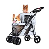 ZTCWS Double Pet Stroller, 4 Wheels Dog Strollers for Small Dogs, Folding Travel Cat Stroller with Suspension System for Small Medium Pet Carrier Strolling
