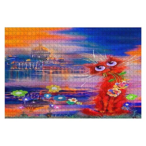 Red Beautiful Cat Came to St Petersburg for Flowers Oil Painting 1000 Piece Wooden Jigsaw Puzzle DIY Children Educational Puzzles Adult Decompression Gift Creative Games Toys Puzzles Home Decor