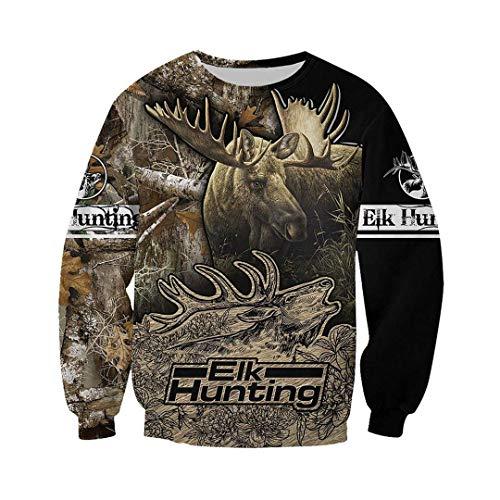 Unisex Hoodie Animal Hunting Camouflage Series 3D Printed Zipper Sweatshirt Black S