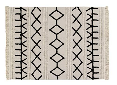 Lorena Canals - Alfombra lavable Bereber Canvas - Natural, Negro - 60% algodón, 40% otras fibras. Base: Algodón reciclado - 240x170 cm