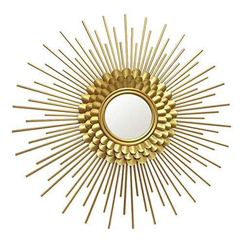 Espejo dorado en forma de ráfaga de sol