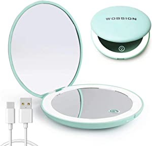 wobsion Led Compact Mirror, Rechargeable 1x/10x Magnification Compact Mirror, Dimmable Small Travel Makeup Mirror,Pocket Mirror for Handbag,Purse,Handheld 2-Sided Mirror,Gifts for Girls,Cyan