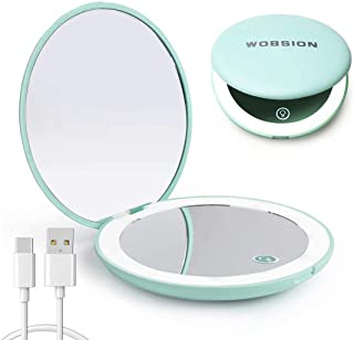 wobsion Led Compact Mirror, Rechargeable 1x/10x Magnification Compact Mirror, Dimmable Small Travel Makeup Mirror,Pocket M...
