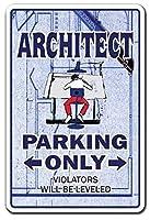 建築家駐車場青写真建築家ブリキ看板壁の装飾金属ポスターレトロプラーク警告看板オフィスカフェクラブバーの工芸品