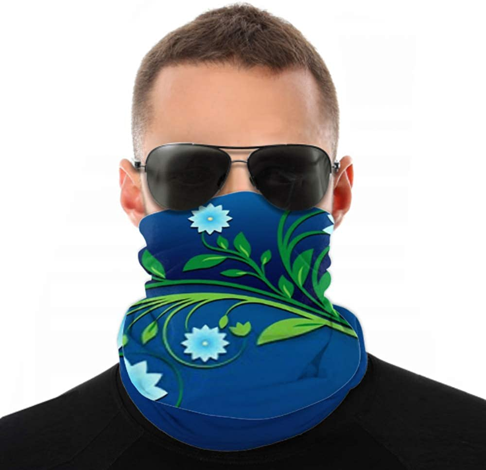 Headbands For Men Women Neck Gaiter, Face Mask, Headband, Scarf Abstract Spring Floral Ornament On Blue Turban Multi Scarf Double Sided Print Women Head Wraps For Sport Outdoor