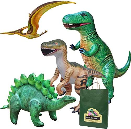 Jet Creations 4 pk Inflatable Dinosaurs Combo T rex Pteranodon Stegosaurus Raptor Great for product image